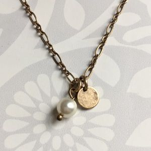 J. Crew pearl and disc necklace